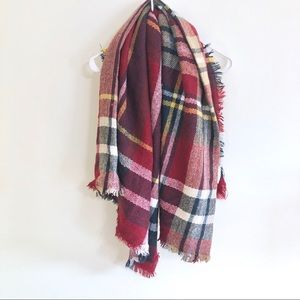 Francesca's Red Plaid Blanket Scarf